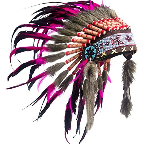 Kids Native American Headdress Replica - Short Pink Rooster