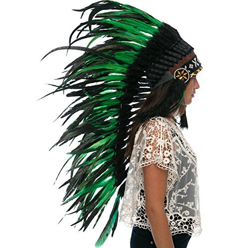 Long Feather Headdress- Native American Indian Inspired - Green-Black