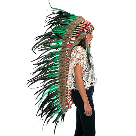 Extra Long Native American Headdress Replica - Green Rooster - CLEARANCE!