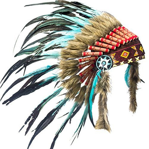 Kids Indian Headdress Replica - Short Turquoise Rooster
