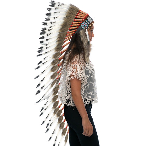 Extra Long Native American Indian Style Headdress - ADJUSTABLE - Black & White
