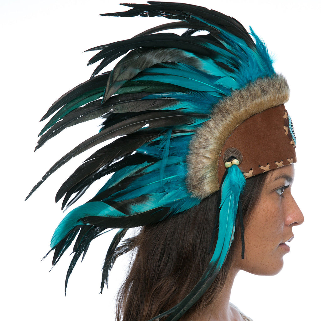 Mini Feather Headdress- Native American Inspired - Aqua with beads