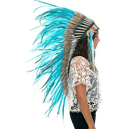 Long Feather Headdress- Native American Indian Style -ADJUSTABLE- Full Turquoise