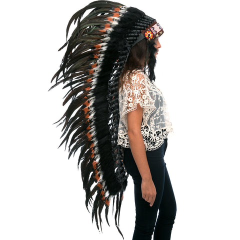 Extra Long DOUBLE FEATHER Brown Indian Headdress Replica