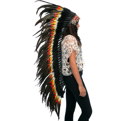Extra Long DOUBLE FEATHER Native American Headdress Replica with Multicolor Feathers