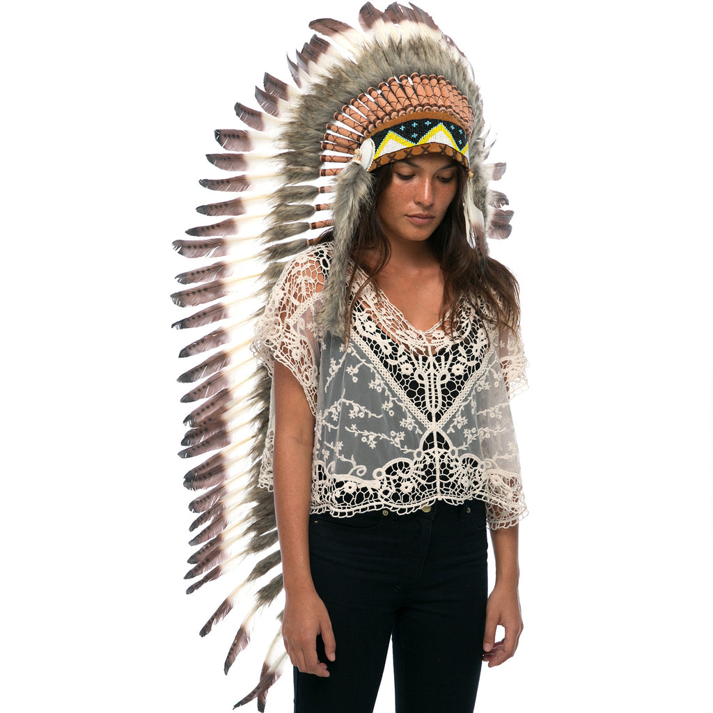 Extra Long Indian Headdress Replica with White Duck Feathers dyed with brown tips