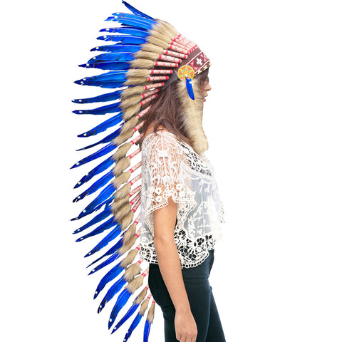 Extra Long Native American Indian Style Headdress - ADJUSTABLE - Dark Blue Duck