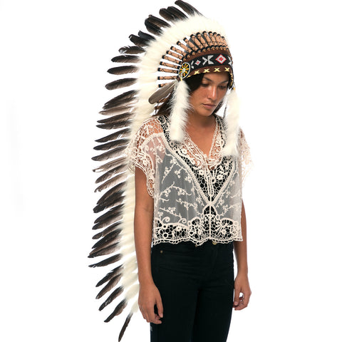 Extra Long Indian Headdress Replica with Natural Black Duck Feathers