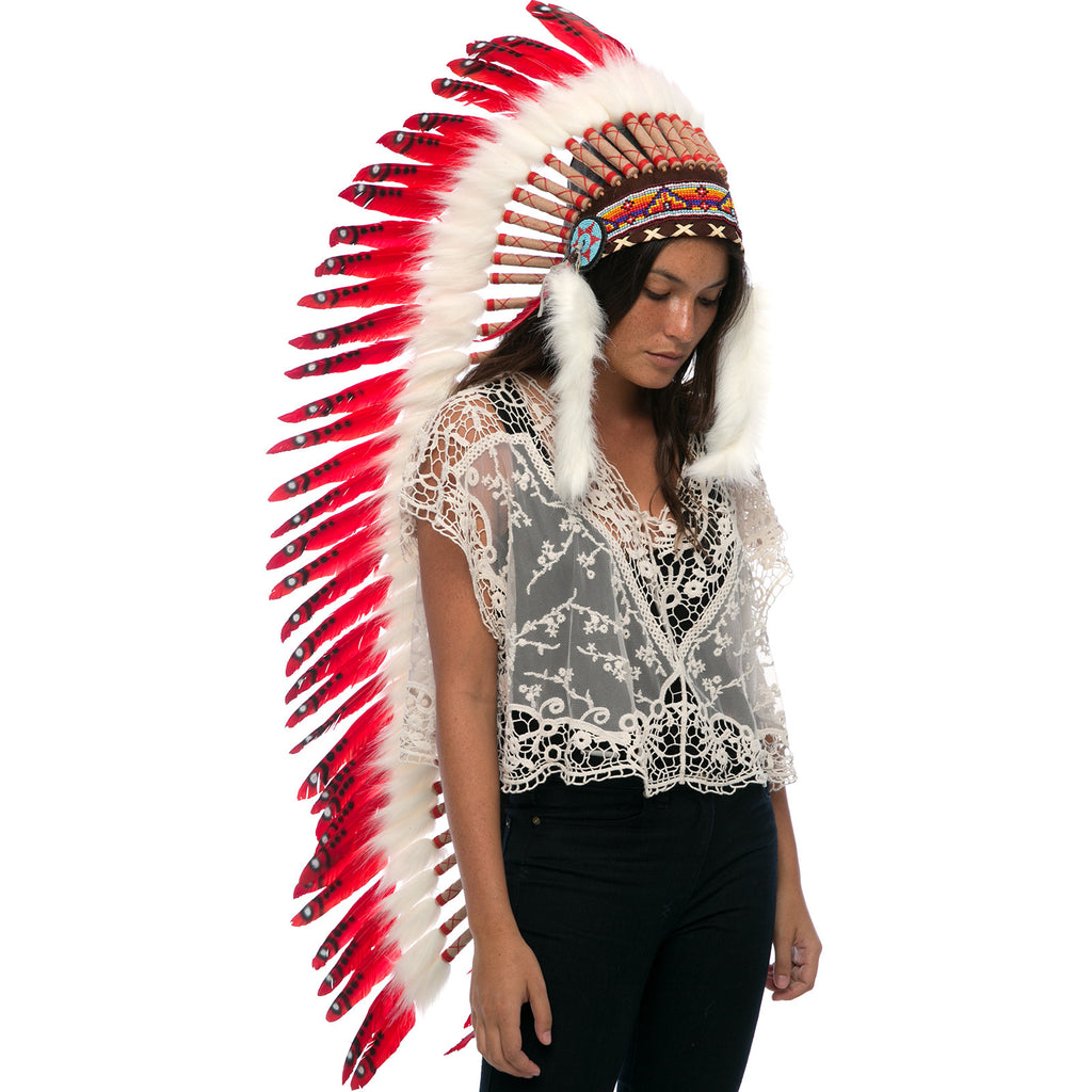 Extra long native american headdress replica with red duck feathers