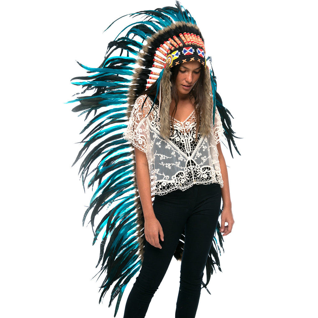 Extra Long Indian Headdress Replica with aqua rooster feathers and black & brown fur