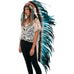 Extra Long native american Headdress Replica with aqua rooster feathers and black & brown fur