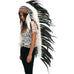 Extra Long Native American inspired Headdress with black rooster feathers