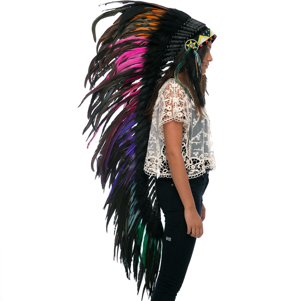 "Extra Long Indian Headdress Replica with ""electric"" black rooster feathers"