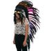 "Extra Long Native American Headdress Replica with ""electric"" black rooster feathers"