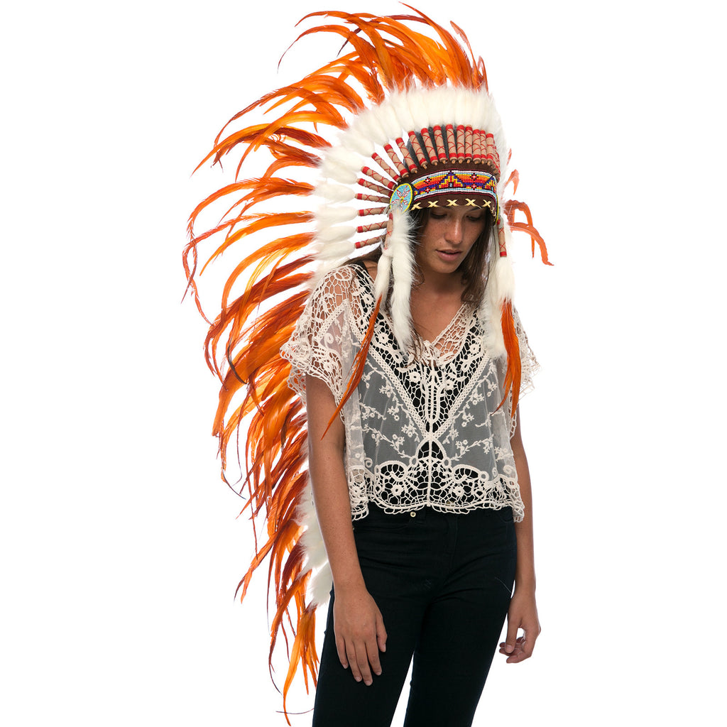 Extra Long Indian Headdress Replica with Full Orange Rooster Feathers