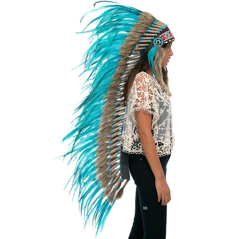 Extra Long Indian Headdress Replica - Full Turquoise Rooster