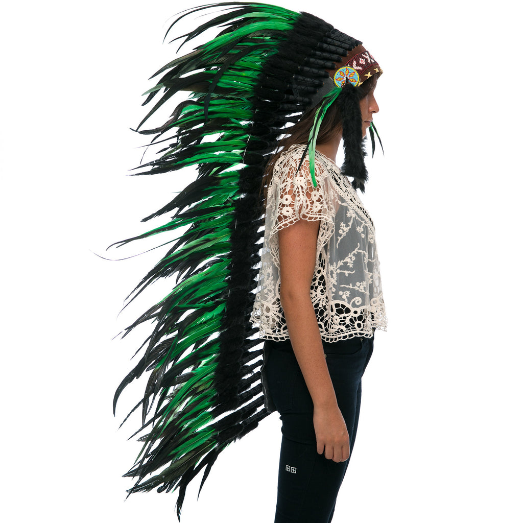 Extra Long Indian Headdress Replica with Green Rooster Feathers and Black Faux Fur