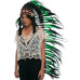 Extra Long Native American Headdress Replica with Green Rooster Feathers and Black Faux Fur