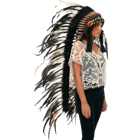 Extra Long Indian Headdress Replica with Natural Color Rooster Feathers
