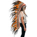 Extra Long Native American Headdress Replica with Orange Rooster Feathers