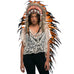 Extra Long Indian Inspired Headdress with Orange Rooster Feathers