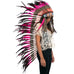Extra Long Indian Inspired Headdress with Pink Rooster Feathers