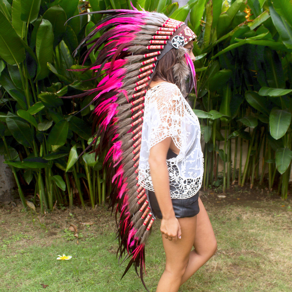 Extra Long Indian Headdress Replica with Pink Rooster Feathers