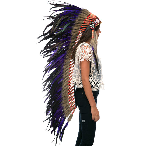 Extra Long Indian Headdress Replica with Purple Rooster Feathers