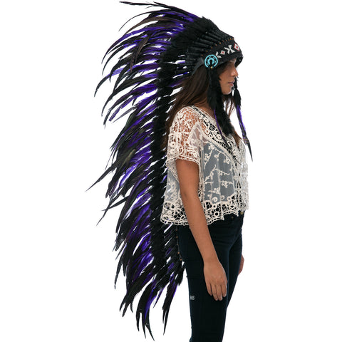 Extra Long Indian Headdress Replica with purple rooster Feathers and black decoration