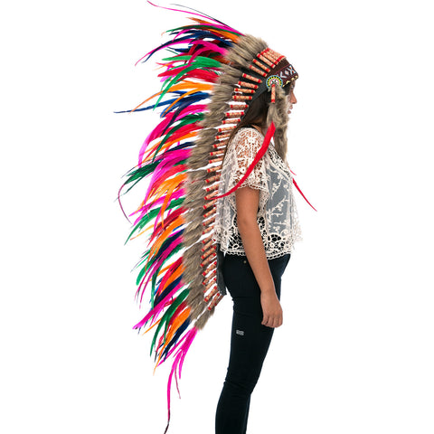 Extra Long Indian Headdress Replica with Rainbow Rooster Feathers