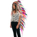 Extra Long Native American Headdress Replica with Rainbow Rooster Feathers