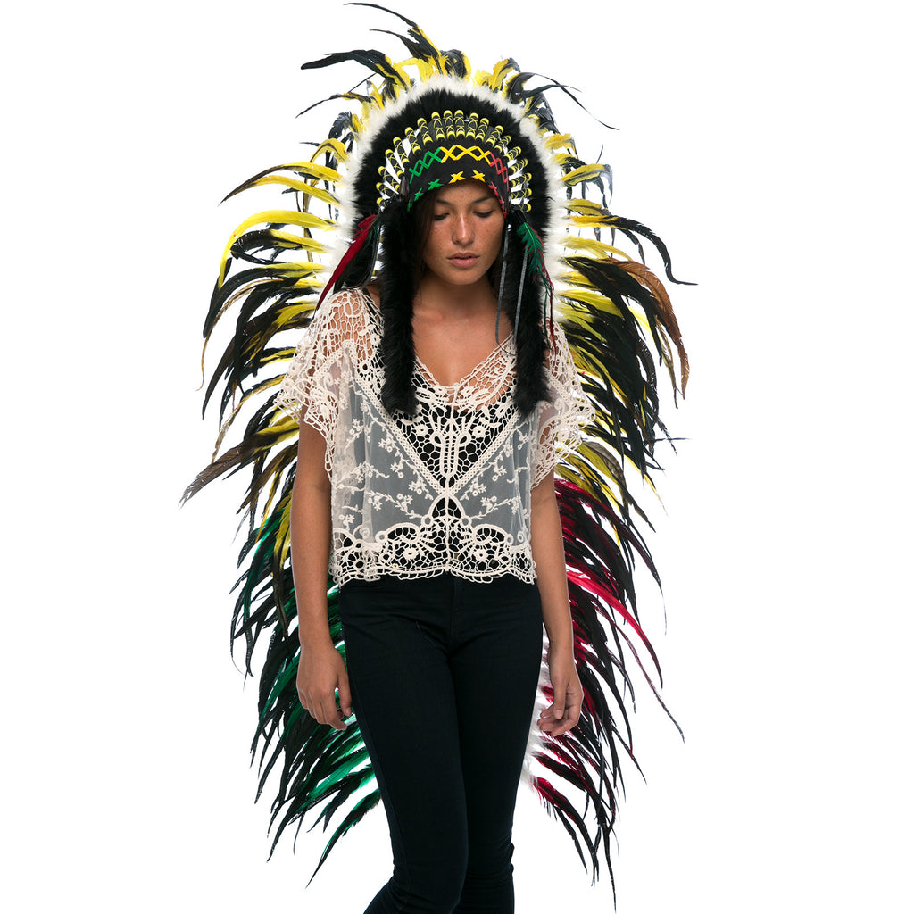 Extra Long Indian Headdress Replica - Rasta Rooster