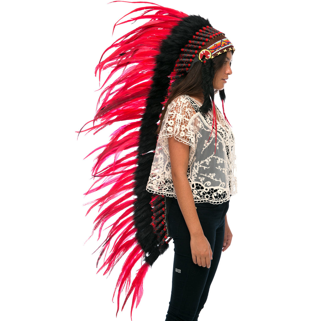 Extra Long Indian Headdress Replica with Red Rooster Feathers