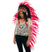 Extra Long Native American Headdress Replica with Red Rooster Feathers