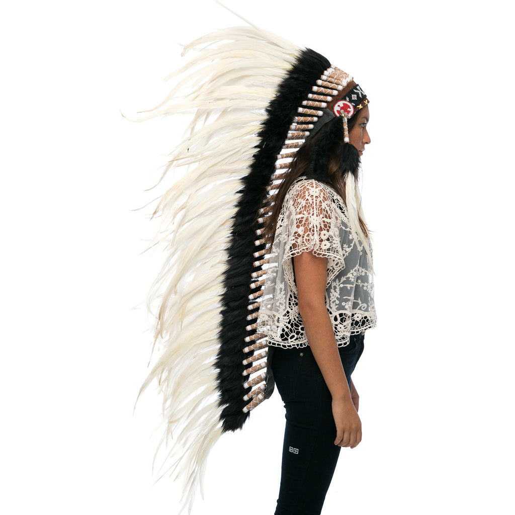 Extra Long Indian Headdress Replica with White Rooster Feathers