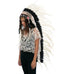 Extra Long Native American Headdress Replica with White Rooster Feathers