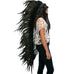 Extra Long Indian Headdress Replica with SUPER BLACK Rooster Feathers