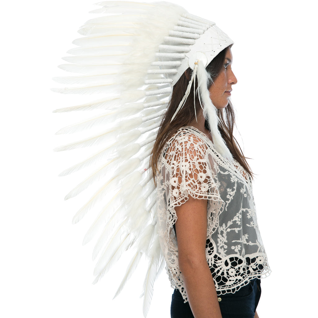 Long Indian headdress replica in All White with real duck feathers