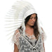 Long Native American headdress replica in All White with real duck feathers