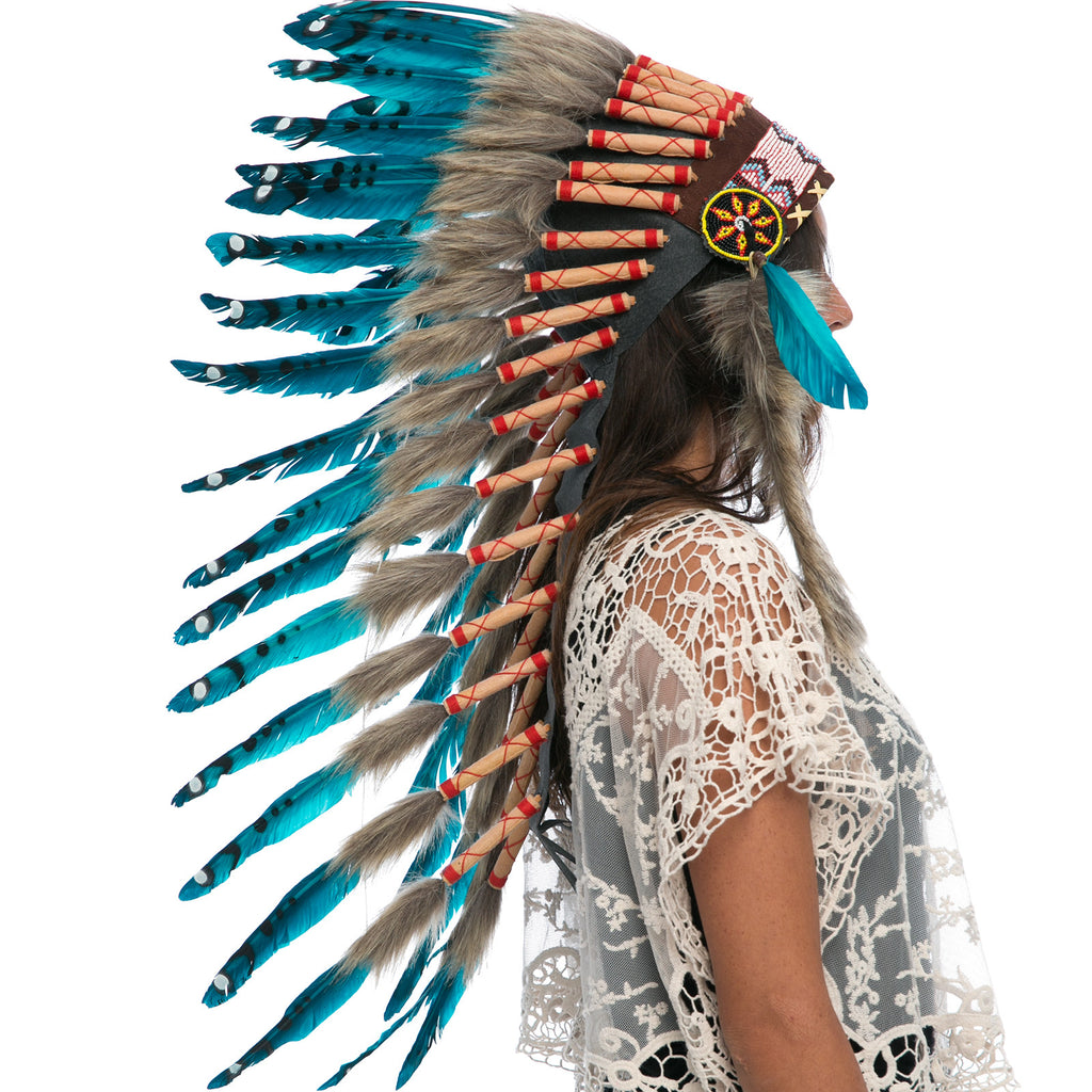 Long Indian Headdress Replica - Aqua Duck