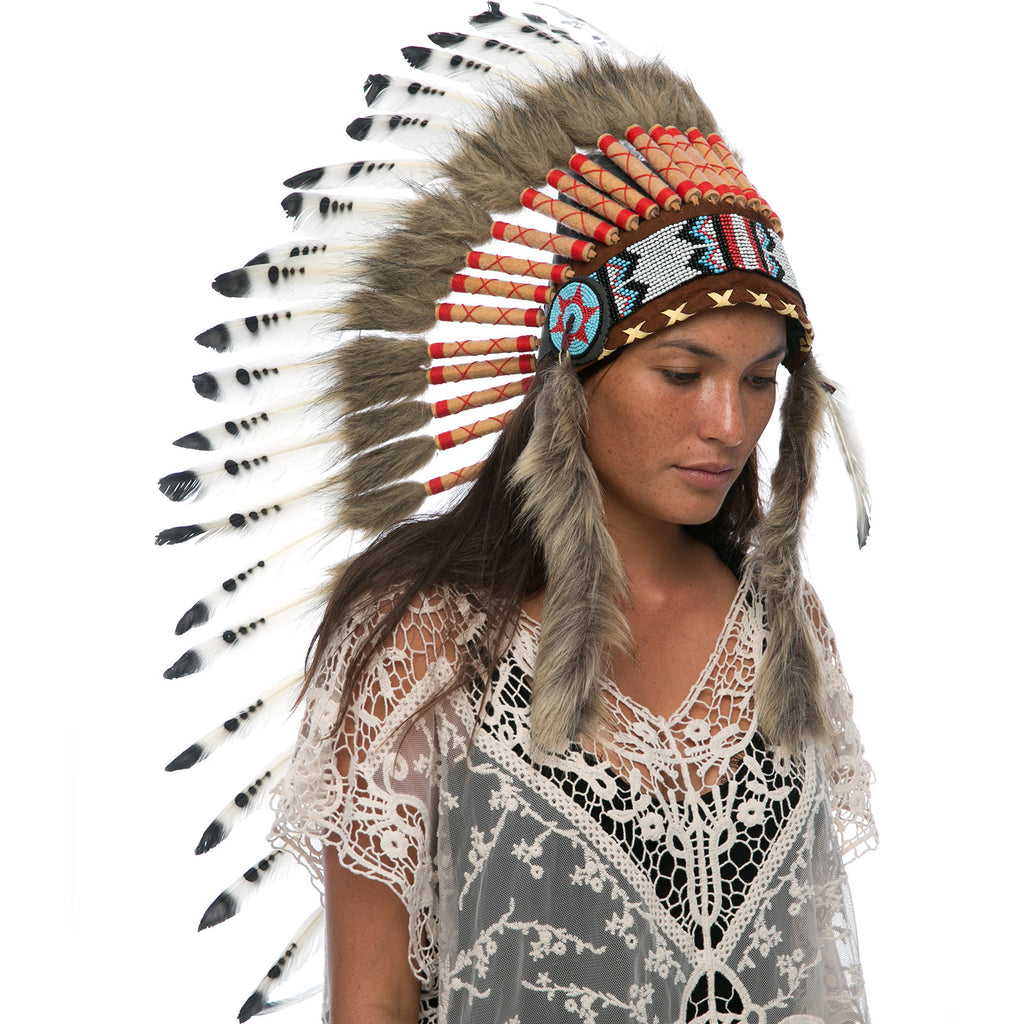 Long Indian headdress replica in black & white with real duck feathers