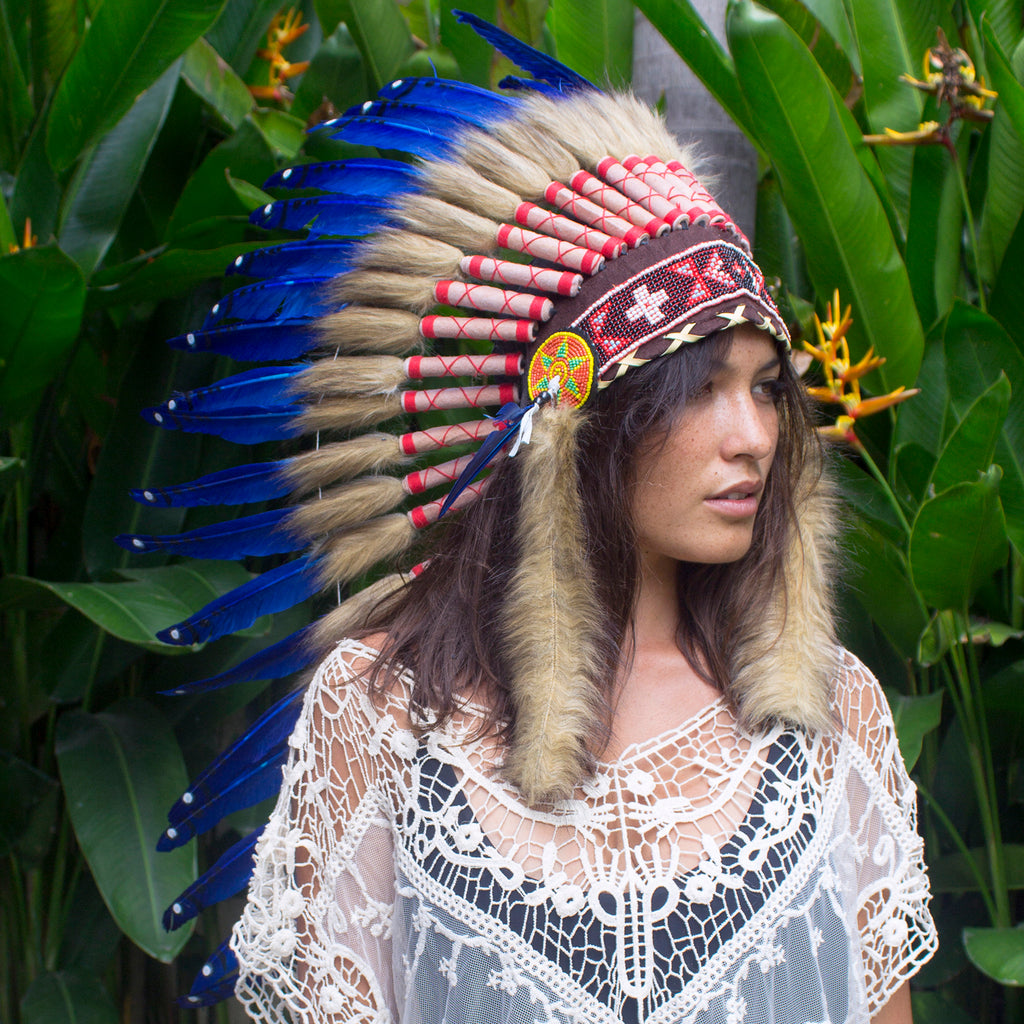 Long Native American Headdress Replica - Dark Blue Duck Feathers