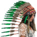 Long Indian inspired headdress with green duck feathers