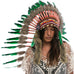 Long native american style headdress with green duck feathers
