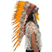 Long native indian headdress replica with orange duck feathers