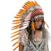 Long native american headdress replica with orange duck feathers