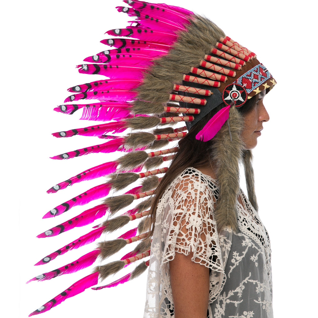 Long native american style headdress with pink duck feathers