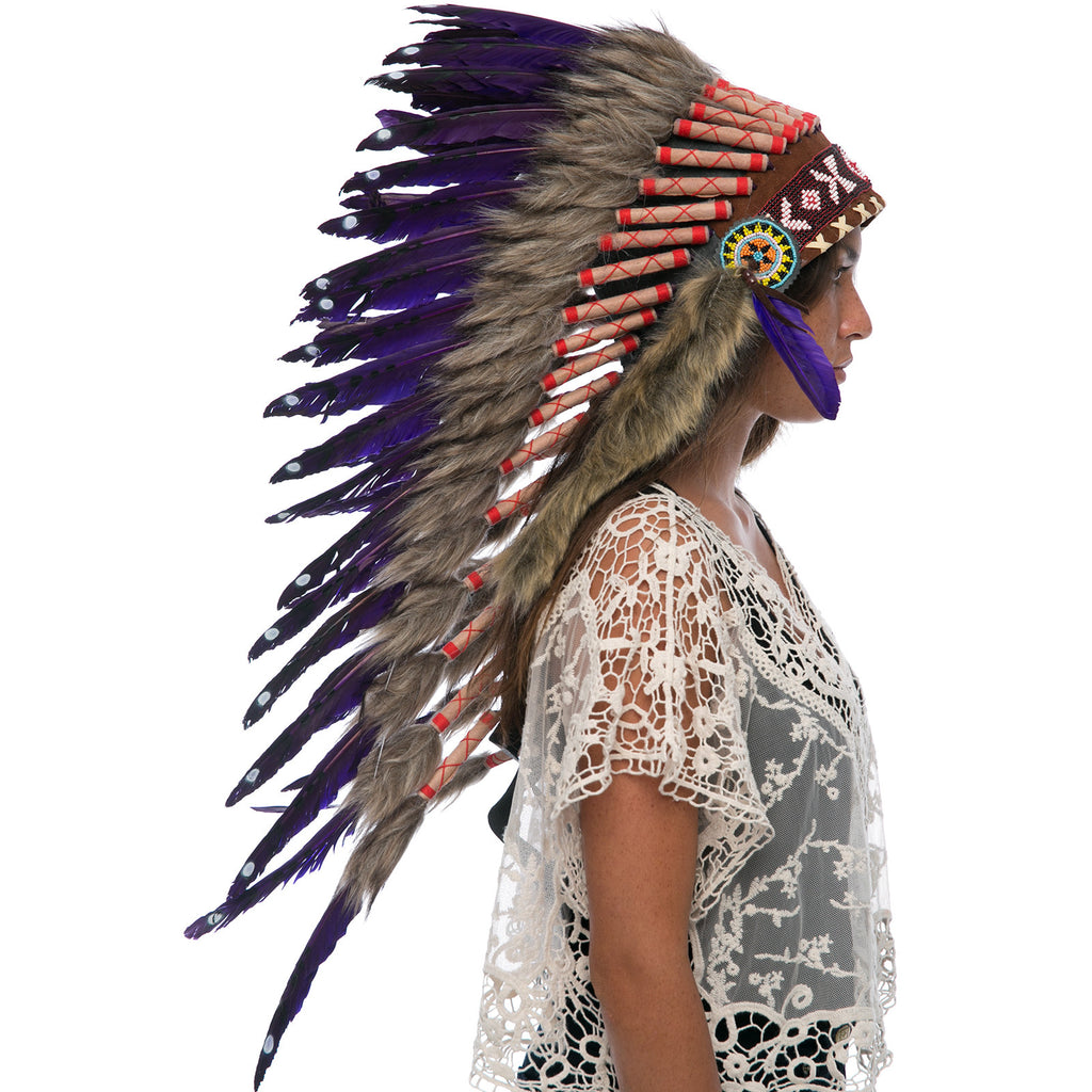 Long native american style headdress with purple duck feathers