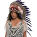 Long Indian headdress replica in with purple duck feathers