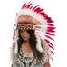 Long indian inspired headdress with red duck feathers